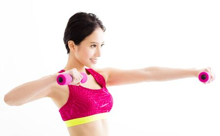 happy asian people: fitness young woman working out with dumbbells