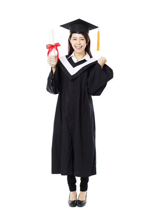 asia women: full length of  young female college graduation