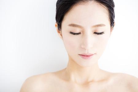 close-up mooie jonge vrouw gezicht Stockfoto