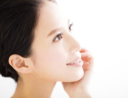 young asian: closeup beautiful young   woman  face Stock Photo