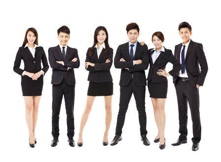 Group of asian business people isolated on white