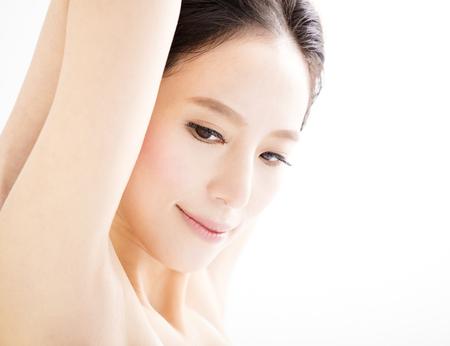 axila: primer cara hermosa joven mujer sonriente Foto de archivo