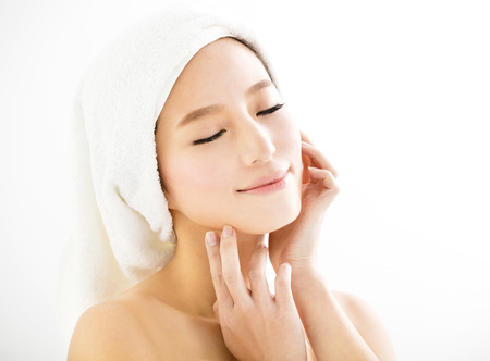 woman in towel: closeup beautiful young   woman  face Stock Photo