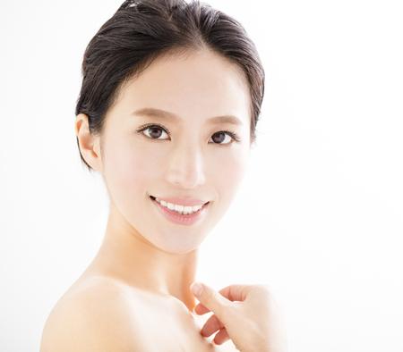 agrandi belle jeune visage souriant femme Banque d'images