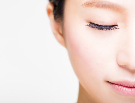 pretty eyes: half face of young beautiful woman