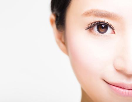 eyelashes: half face of young beautiful woman