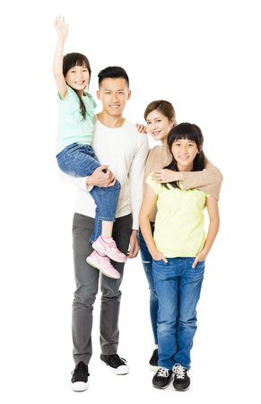 family isolated: Happy Attractive Young  Family standing together Stock Photo