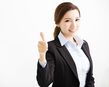 asia women: happy young business woman with thumb up Stock Photo