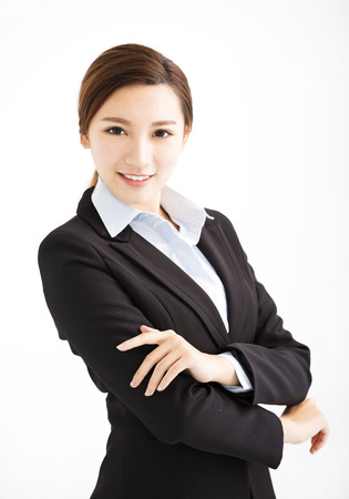 white suit: Beautiful young asian business woman Stock Photo