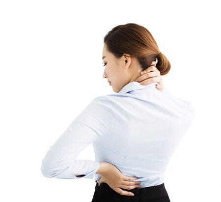 woman muscle: business Woman with shoulder and neck pain Stock Photo
