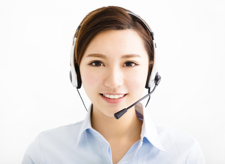 online service: Smiling agent business woman with headsets