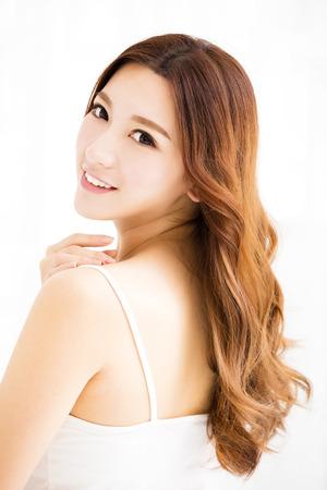 close-up mooie jonge Aziatische vrouw gezicht