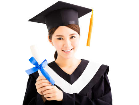 academic robe: Young smiling asian female graduation with diploma