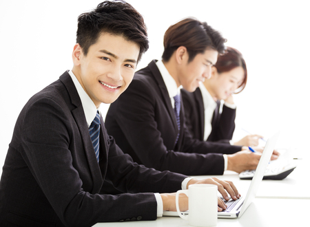 japanese people: group of business people having meeting together