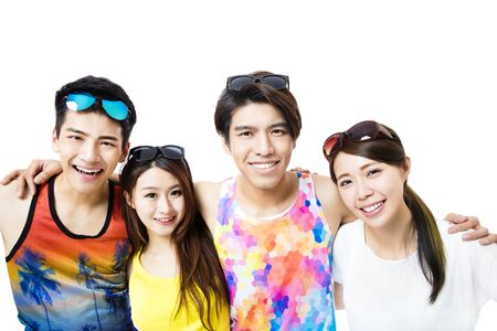 young friends: happy young group enjoy summer vacation