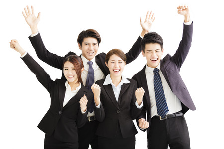 empleado de oficina: Retrato de feliz éxito Equipo de negocios joven