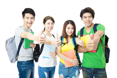 happy group of the college students with thumbs up 版權商用圖片 - 56763448