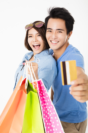 happy young Couple with shopping bags Archivio Fotografico