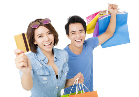 happy young Couple with shopping bags Standard-Bild