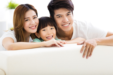 asia people: Happy Attractive Young  Family and little girl Stock Photo