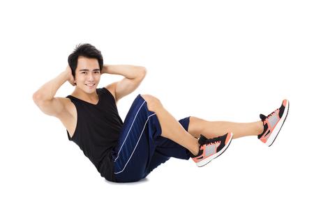 muscle training: Junge Herstellung Fitness Mann Stretching-Übungen