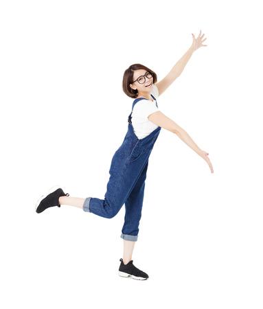personas: mujer excitada joven con los brazos extendidos Foto de archivo