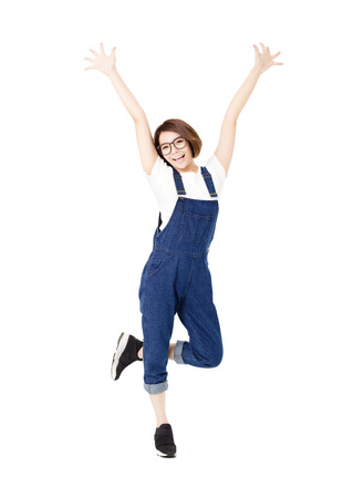 student: happy excited young women with arms extended Stock Photo