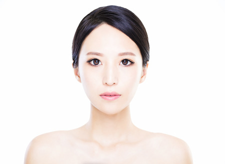 fresh women: closeup   young  woman face with clean  skin
