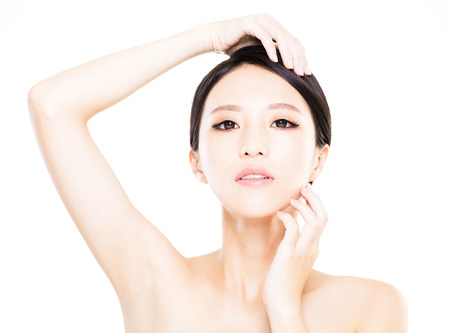 closeup   young  woman face with clean  skin photo