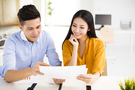 young business man and woman workng in office
