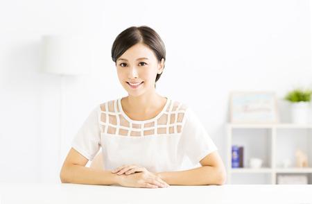 closeup smiling young asian woman