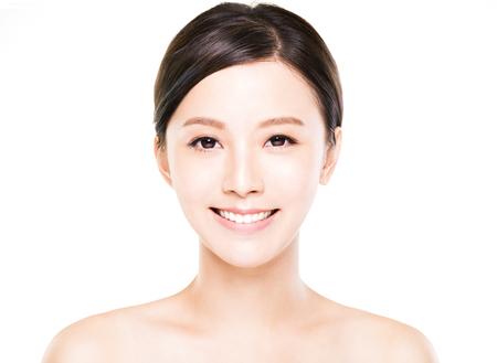 깨끗한 피부와 근접 촬영 젊은 여자 얼굴 스톡 콘텐츠