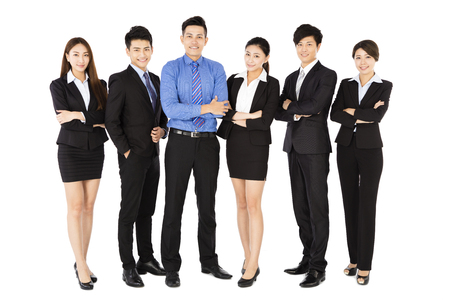 business asia: successful business team standing on white background Stock Photo