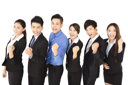 Happy young Business Group with success gesture