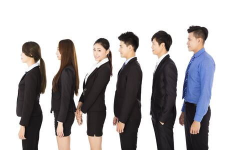 work together: group of business people standing in row