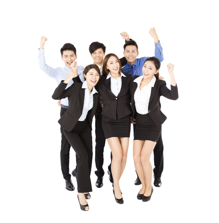 working in office: happy Young  Business team with successful gesture