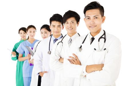 Smiling medical team isolated on white background