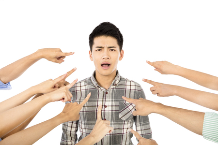 excluded: Concept of accuse guilty young man Stock Photo