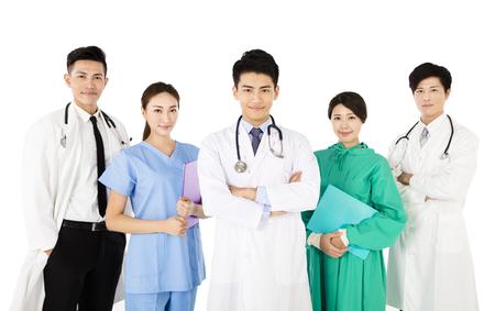 Smiling medical team isolated on white background Imagens