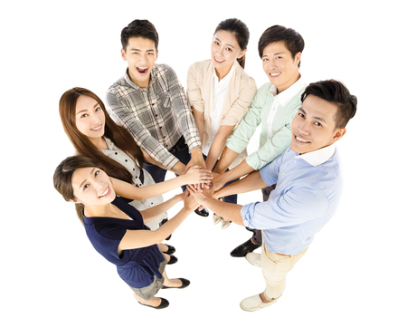 happy young business team with unity gesture 版權商用圖片