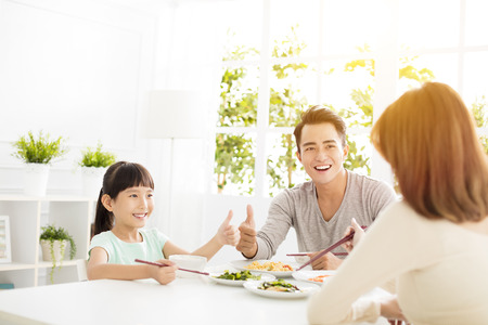 husband gives his wife thumbs up for the delicious dinner