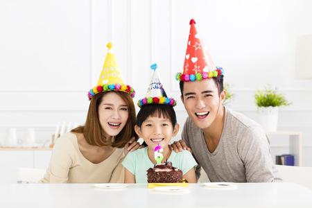 happy Family Celebrating daughters  Birthday Stock Photo
