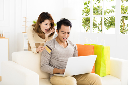 asian lifestyle: Young  couple  shopping online with credit card