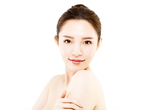 skin care woman: closeup   young  woman face isolated on white