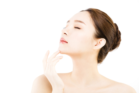 asia women: Beautiful face of young  woman with clean fresh skin
