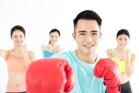 young group people in  boxing class photo