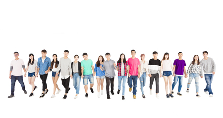 happy young group of people walking forward together Stock Photo - 66062547