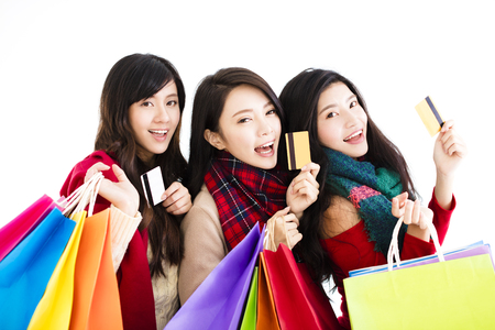 asian group: Happy young woman group enjoy  shopping