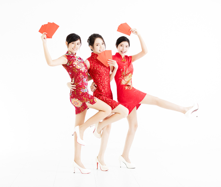 young group showing red bags and happy chinese new year . Stock Photo