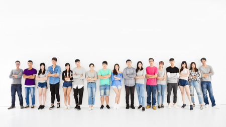 asian group: young student group  standing together Stock Photo